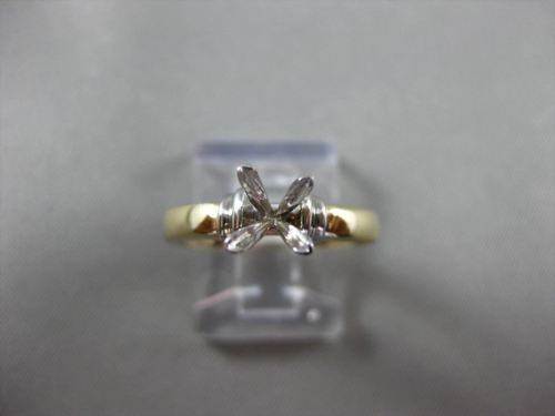 ESTATE 14KT TWO TONE GOLD 3D PRINCESS SOLITAIRE SEMI MOUNT ENGAGEMENT RING 24589