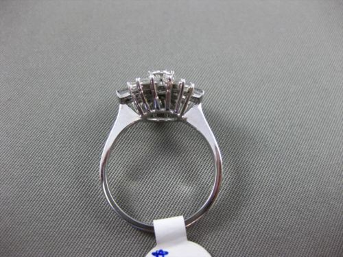 ANTIQUE 1.56CT DIAMOND ROUND & BAGUETTE 14K WHITE GOLD 3D FLOWER ENGAGEMENT RING