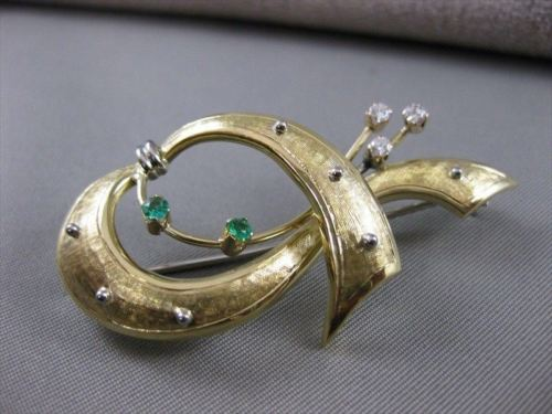 LARGE ANTIQUE OLD MINE DIAMOND EMERALD BOW 18KT W YELLOW GOLD PIN BROOCH #20404