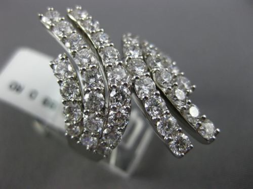 EXTRA LARGE 3.99CT DIAMOND 18K WHITE GOLD 3D MULTI ROW CRISS CROSS COCKTAIL RING