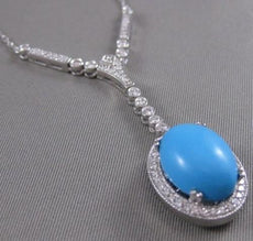 "ANTIQUE 8.95CTW DIAMOND & TURQUOISE WHITE GOLD HANGING BEZELS NECKLACE 16"" #2555"