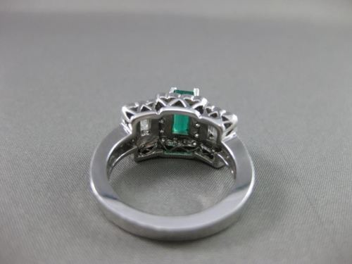 ANTIQUE 2.19CT DIAMOND & EMERALD FILIGREE 14KT WHITE GOLD ENGAGEMENT RING #16061