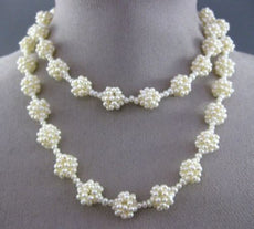 ESTATE WIDE & LONG SOUTH SEA PEARL 3D FLOWER CLUSTER BY THE YARD NECKLACE #25369