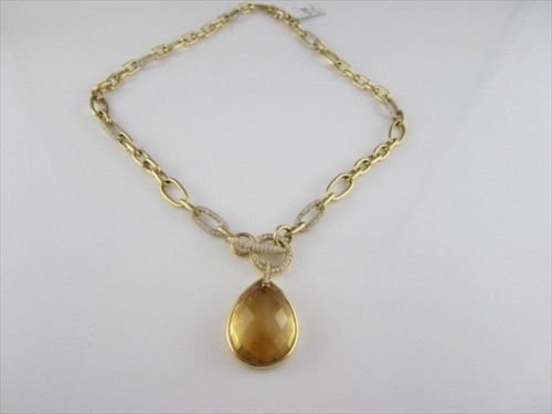 ANTIQUE 18KT DIAMOND & CITRINE DESIGNER DROP NECKLACE