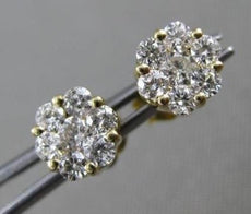 ESTATE WIDE .50CT DIAMOND 14KT YELLOW GOLD 6 PRONG CLUSTER FLOWER STUD EARRINGS