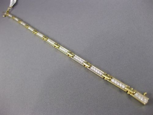 ESTATE 1.0CT DIAMOND 14KT WHITE & YELLOW GOLD CROSS RECTANGULAR TENNIS BRACELET