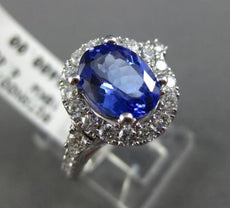 LARGE 1.70CT DIAMOND & TANZANITE 18K WHITE GOLD 3D HALO FILIGREE ENGAGEMENT RING