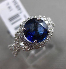 ESTATE 3.25CT DIAMOND & SAPPHIRE 18KT WHITE GOLD HALO INFINITY ENGAGEMENT RING