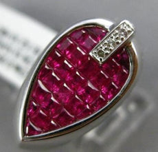 ESTATE WIDE 3.15CT DIAMOND & AAA RUBY 18KT WHITE GOLD 3D MENS GYPSY RING