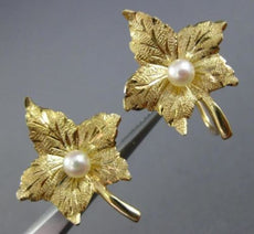 ESTATE SOUTH SEA PEARL 14KT YELLOW GOLD HANDCRAFTED LEAF FLOWER EARRINGS #25935