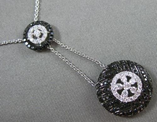 ESTATE 1.03CT WHITE & BLACK DIAMOND 14KT WHITE GOLD 3D FLOWER LARIAT NECKLACE