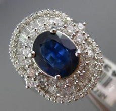 ESTATE LARGE 5.78CT DIAMOND & SAPPHIRE 18K WHITE 3D GOLD BALLERINA COCKTAIL RING