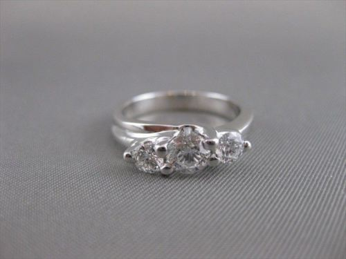 ESTATE .90CT DIAMOND 14K WHITE GOLD 3D PAST PRESENT FUTURE ENGAGEMENT RING 19561