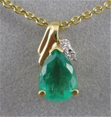 ESTATE .84CT DIAMOND COLOMBIAN EMERALD 14KT YELLOW GOLD HANGING PENDANT #2082