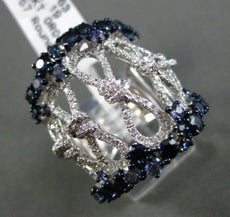 ESTATE MASSIVE 2.82CT DIAMOND & SAPPHIRE 18KT WHITE GOLD INFINITY COCKTAIL RING