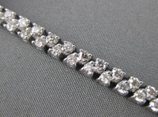 ESTATE WIDE 4.65CT ROUND DIAMOND 14K WHITE GOLD TWO ROW CLASSIC BRACELET AMAZING
