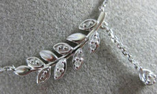 ESTATE .12CT ROUND DIAMOND 14KT WHITE GOLD 3D MULTI LEAF FLOATING FUN NECKLACE