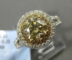 LARGE 3.40CT WHITE & CHAMPAIGN DIAMOND 14K TWO TONE GOLD 3D HALO ENGAGEMENT RING