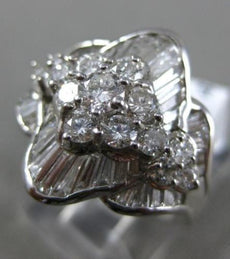 ESTATE LARGE 1.80CT ROUND & BAGUETTE DIAMOND 14K WHITE GOLD FLOWER COCKTAIL RING