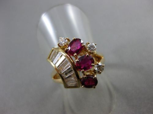 ANTIQUE WIDE 1.33CT DIAMOND & AAA RUBY 14KT YELLOW GOLD MULTI SHAPE RING #22051