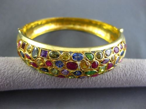 ESTATE WIDE 12.0CT MULTI GEM 22KT YELLOW GOLD FILIGREE MILGRAIN BANGLE BRACELET
