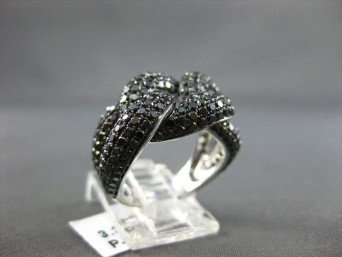 ESTATE WIDE 3.39CTW BLACK DIAMOND 14KT WHITE GOLD INFINITY FUN RING BEAUTIFUL!!