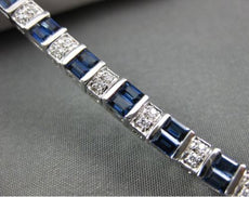 LONG 5.30CT ROUND DIAMOND & AAA BAGUETTE SAPPHIRE 14K WHITE GOLD TENNIS BRACELET