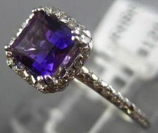 ESTATE .87CT DIAMOND & AAA AMETHYST 14KT WHITE GOLD SQUARE HALO ENGAGEMENT RING