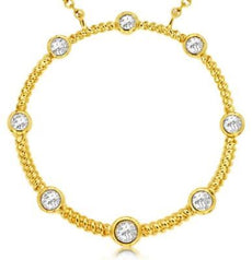 ESTATE .25CT DIAMOND 14KT YELLOW GOLD 3D CLASSIC ETOILE CIRCLE OF LIFE NECKLACE