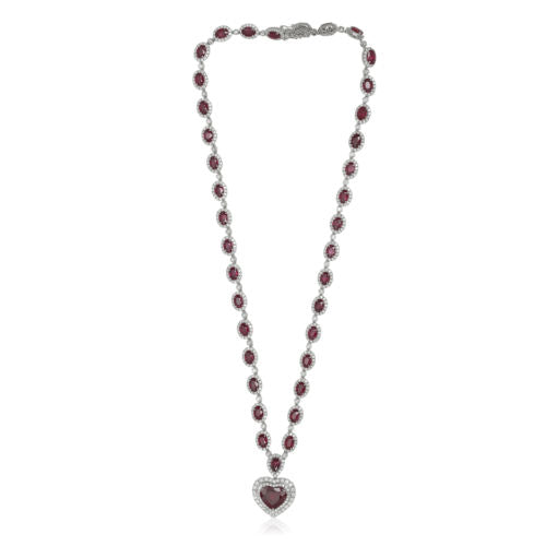 GIA CERTIFIED LARGE 27.43CT DIAMOND & AAA RUBY 18K WHITE GOLD 3D TENNIS NECKLACE