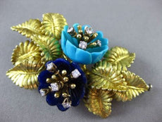 ANTIQUE LARGE DIAMOND LAPIS & TURQUOISE 18KT GOLD 3D FLOWER PIN BROOCH #24083