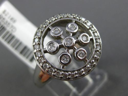 ESTATE LARGE .40CT DIAMOND 14KT WHITE GOLD 3D ETOILE PAVE CIRCLE SNOWFLAKE RING
