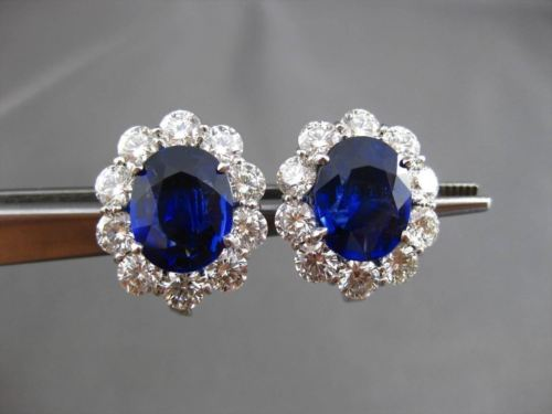 ANTIQUE LARGE 13.36CT DIAMOND & SAPPHIRE PLATINUM OVAL CLIP ON EARRINGS E/F VVS