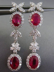 ESTATE LARGE CERTIFIED 4.77CT DIAMOND & RUBY 18KT WHITE GOLD FLORAL EARRINGS E/F
