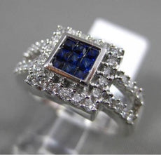 ESTATE WIDE 1.0CT DIAMOND & AAA SAPPHIRE 14KT WHITE GOLD 3D SQUARE HALO RING