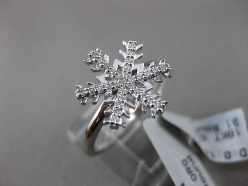 ANTIQUE .14CT DIAMOND 18KT WHITE GOLD 3D PAVE HANDCRAFTED SNOWFLAKE FUN RING