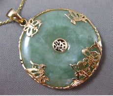 ANTIQUE LARGE JADE 14KT YELLOW GOLD 3D FILIGREE BUTTERFLY FLOATING PENDANT 25022
