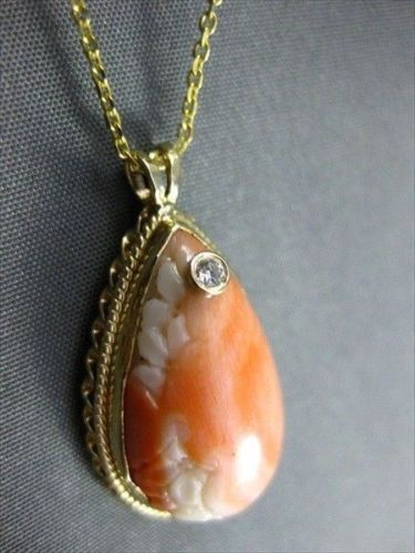 ANTIQUE .04CT OLD MINE DIAMOND 14KT WHITE & YELLOW GOLD CORAL PEAR PENDANT #2813