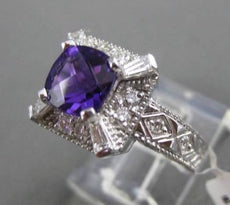 ESTATE 2.48CT DIAMOND & AAA AMETHYST 14KT WHITE GOLD 3D FILIGREE ENGAGEMENT RING