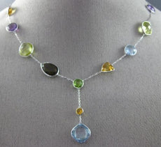 ESTATE AAA MULTI COLOR GEM 14KT WHITE GOLD 3D BY THE YARD LARIAT NECKLACE #25946