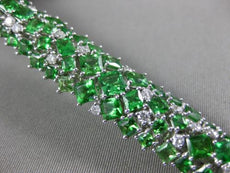 LARGE 19.82CT DIAMOND & AAA TSAVORITE 18K WHITE GOLD HANDCRAFTED TENNIS BRACELET