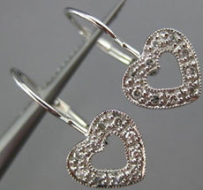 ESTATE .10CT DIAMOND 14KT WHITE GOLD 3D OPEN HEART LEVERNACK HANGING EARRINGS