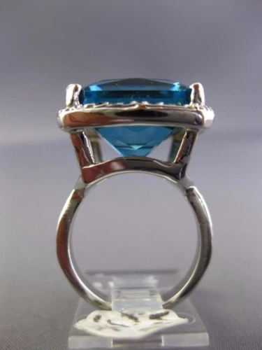 ESTATE EXTRA LARGE 10.20CT AAA BLUE TOPAZ 14K WHITE GOLD 3D SQUARE HALO FUN RING