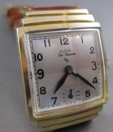 ANTIQUE ELGIN DE LUXE 14KT YELLOW GOLD MENS SQUARE MECHANICAL WATCH WORKS #2501