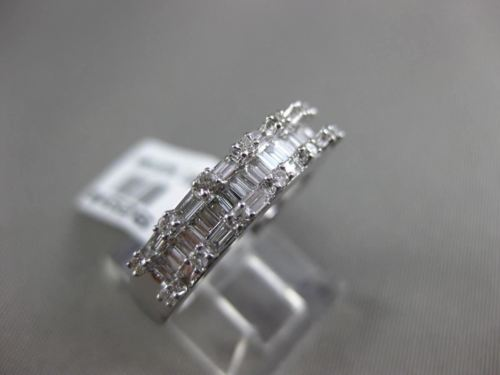 ESTATE 1.0CT ROUND & BAGUETTE DIAMOND 18K WHITE GOLD 3D WEDDING ANNIVERSARY RING