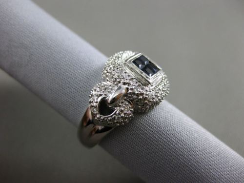 ESTATE WIDE 1.02CT DIAMOND & SAPPHIRE 14KT WHITE GOLD 3D SQUARE FRIENDSHIP RING