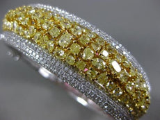 EXTRA LARGE WHITE & FANCY YELLOW 20.81CT DIAMOND 18K 2 TONE GOLD BANGLE BRACELET