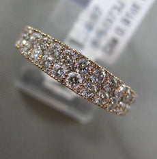 ESTATE .91CT DIAMOND 18K ROSE GOLD 3D 2 ROW MILGRAIN SEMI ETERNITY COCKTAIL RING