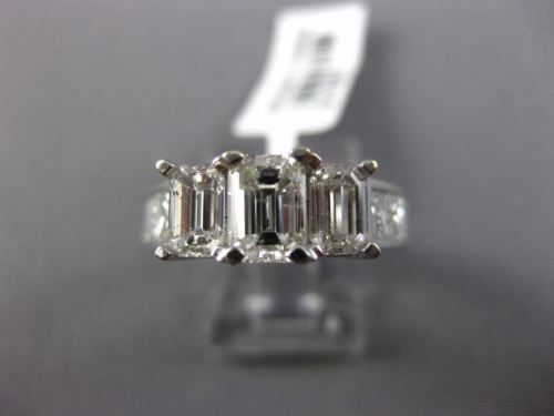 WIDE 3.0CT PRINCESS & BAGUETTE DIAMOND 14KT WHITE GOLD 3 STONE ENGAGEMENT RING