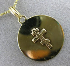 ANTIQUE 14KT YELLOW GOLD 3D CIRCULAR PAPAL CROSS FLOATING PENDANT & CHAIN #25007